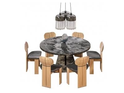 美式餐桌椅3d模型