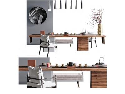 新中式茶臺茶桌椅組合模型3d模型