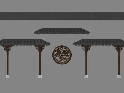 3d中式瓦片屋檐模型