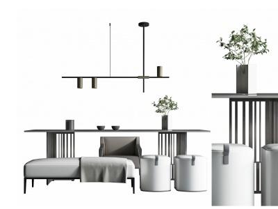 新中式茶桌椅茶臺模型3d模型