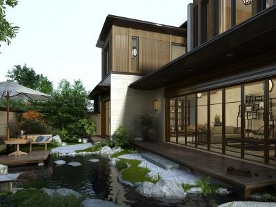 新中式景觀別墅模型3d模型