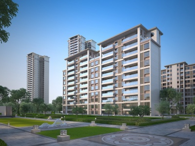 現代小區高層住宅3d模型