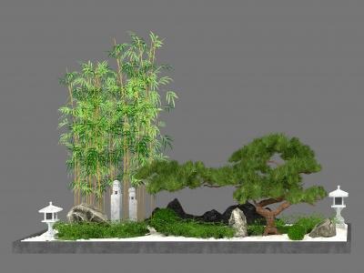 新中式庭院模型