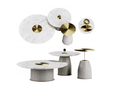 現代輕奢金屬茶幾餐桌模型3d模型