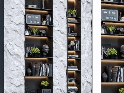 現代巖石巖板裝飾柜模型3d模型