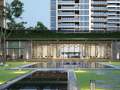 現代住宅內廷景觀模型3d模型
