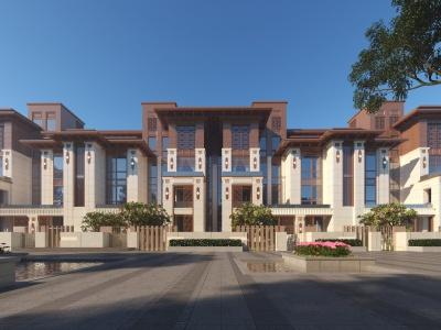 新中式聯排別墅模型3d模型
