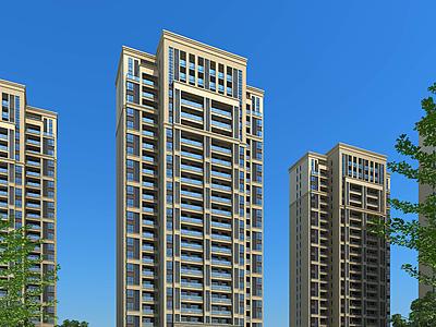 簡歐高層住宅住宅模型3d模型
