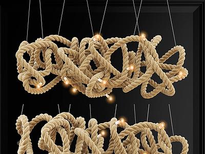 現代麻繩吊燈模型3d模型