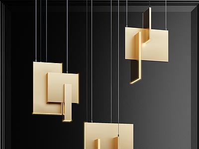 現代金屬燈片吊燈模型3d模型
