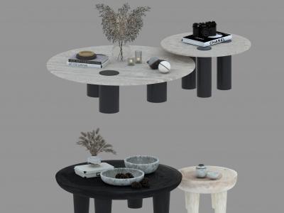 現代侘寂風茶幾組合模型3d模型
