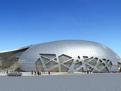 現代異型體育館模型3d模型
