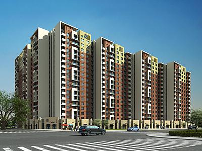 現代商住居民樓模型3d模型