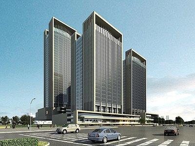 現代綜合辦公樓商場模型3d模型