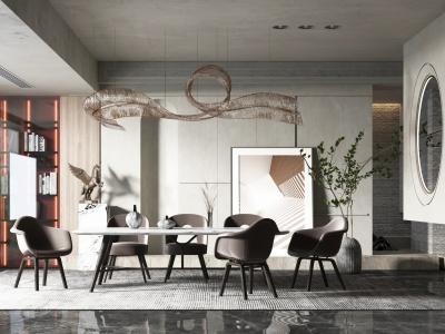 現代輕奢風格餐廳模型3d模型