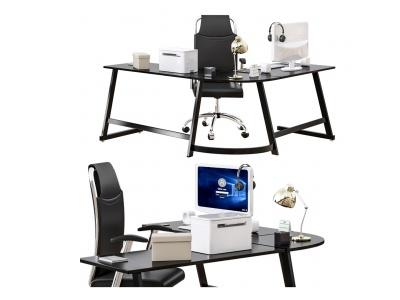 現代輕奢半圓弧經理辦公桌模型3d模型