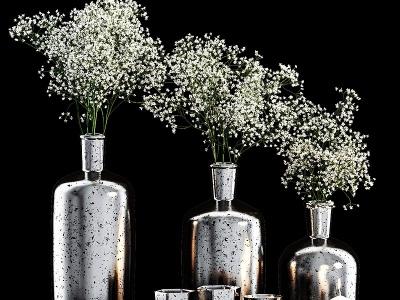 現代黑奢金屬植物花瓶擺設模型3d模型