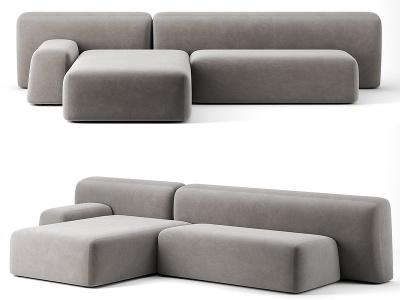 Suiseki多人轉角藝術沙發模型3d模型