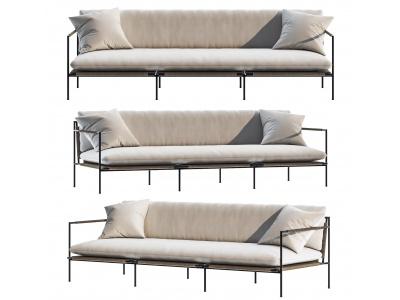 新中式布藝多人沙發模型3d模型
