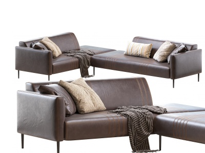 現代皮革轉角沙發模型3d模型