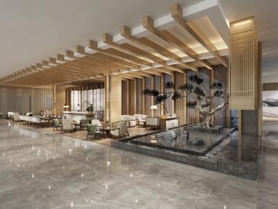 中式售樓大廳模型3d模型