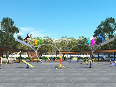 室外廣場公園模型3d模型