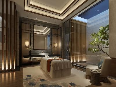 新中式美容店模型3d模型