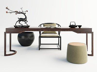 中式茶桌組合模型3d模型