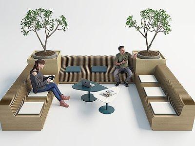 現代室內外休閑長椅模型3d模型