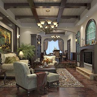 古典欧式大厅整体模型