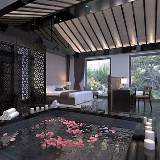 中式别墅卧室整体模型