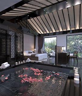 中式别墅卧室家装模型