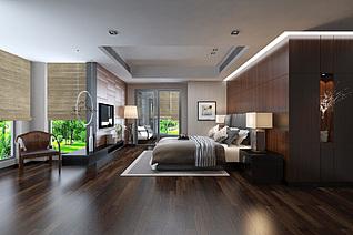 中式风格卧室家装模型