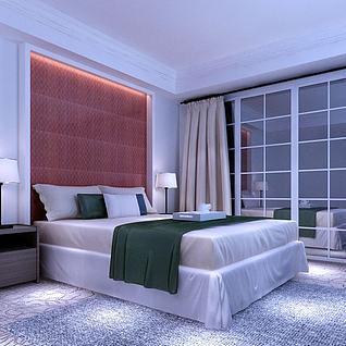 简约卧室整体模型