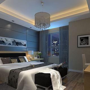 傍晚卧室整体模型