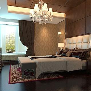 简欧卧室整体模型