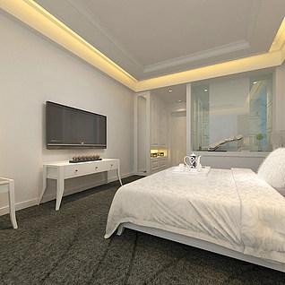现代简约卧室整体模型