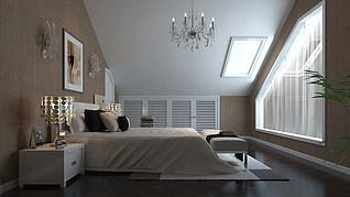 阁楼卧室家装模型