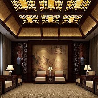 中式接待室整体模型