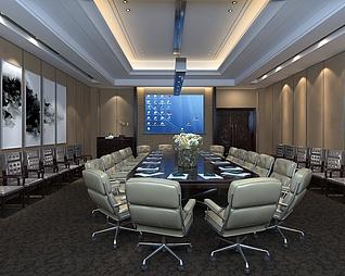 中式会议室工装模型
