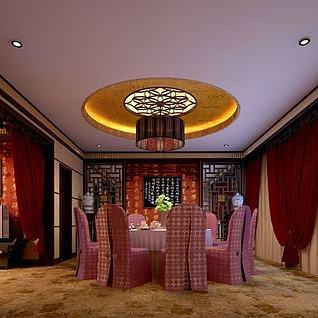 中式酒店包间整体模型