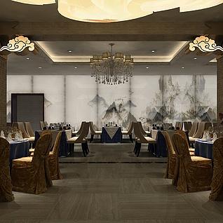 中式酒店整体模型