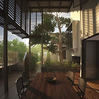 阳光茶楼整体模型