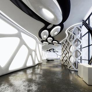 现代展厅整体模型