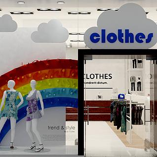 服装专卖店橱窗整体模型