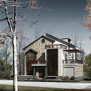 现代风格别墅整体模型
