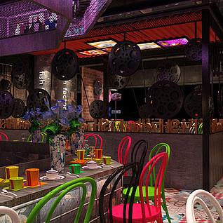 老上海工业风 餐厅3d模型