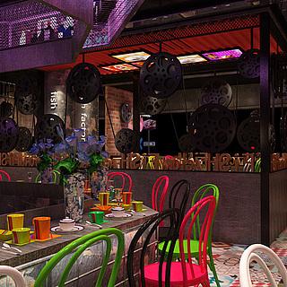 老上海工业风 餐厅整体模型