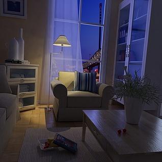 夜景客厅整体模型