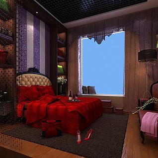新婚卧室整体模型